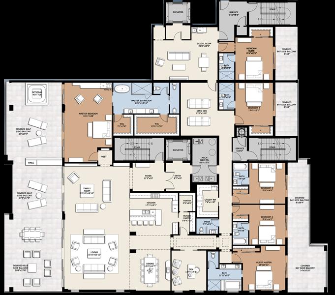 Infinity Long Boat Key Floor Plan Penthouse Png 681 600 Floor Plans House Plans Pent House