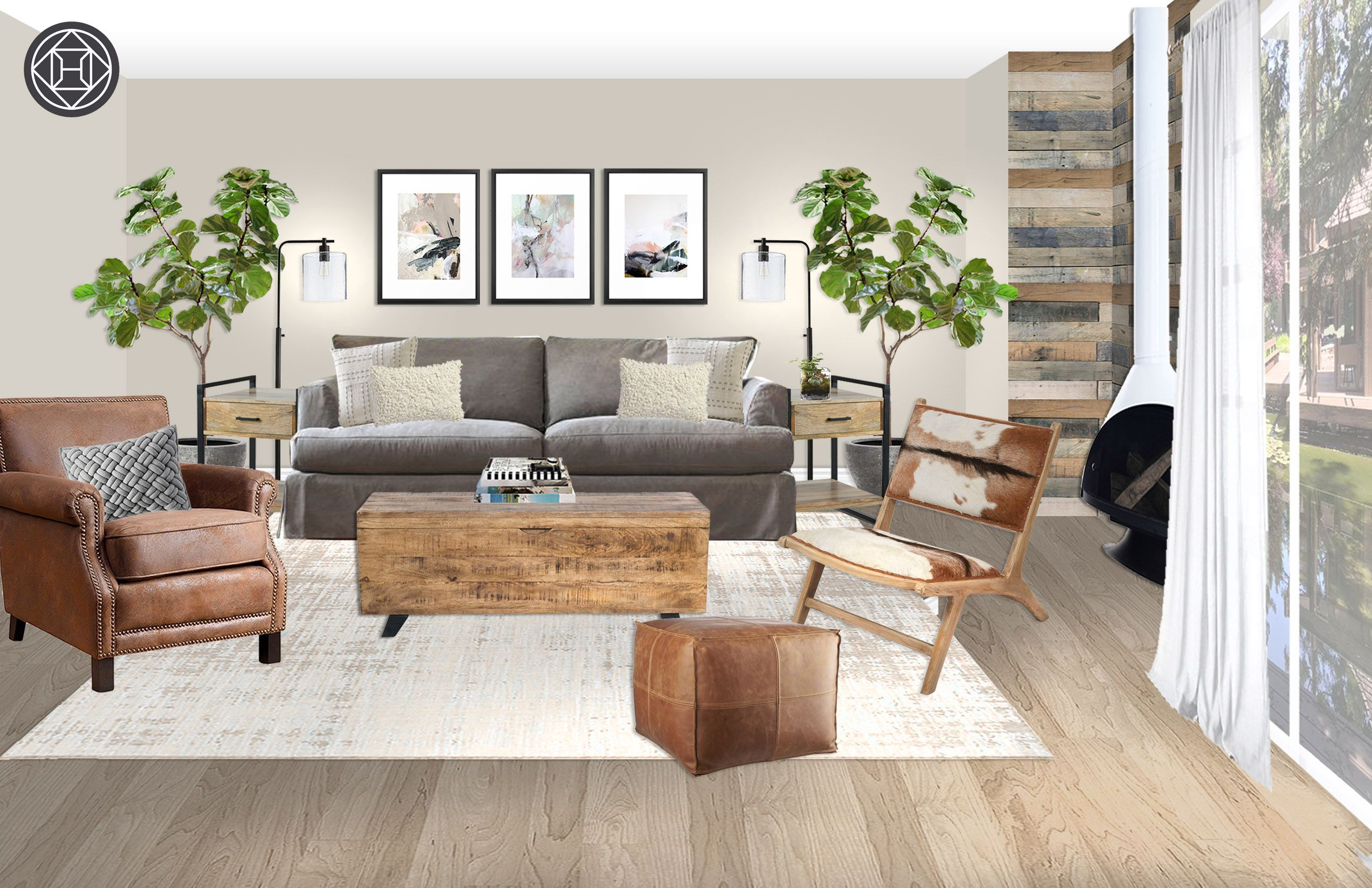 Rustic Midcentury Modern Scandinavian Living Room Design By