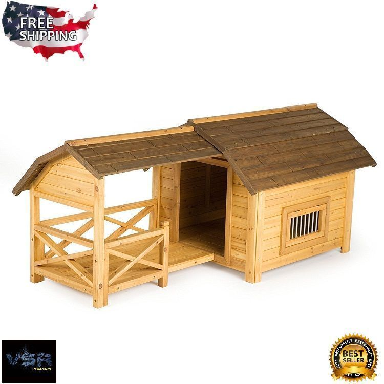 Large Dog House Outdoor Pet Wooden Barn Comfort Cozy Insulated