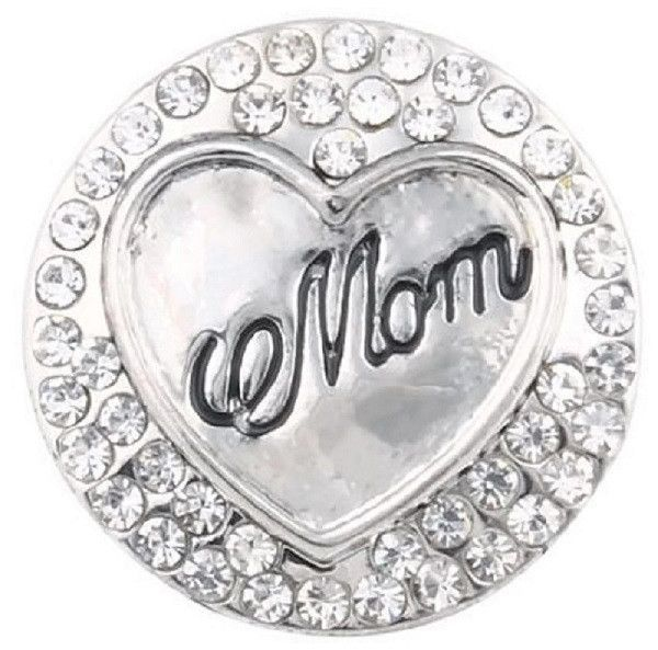 White Rhinestone Mom Snap Charm