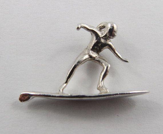 Surfer Sterling Silver Vintage Charm For Bracelet