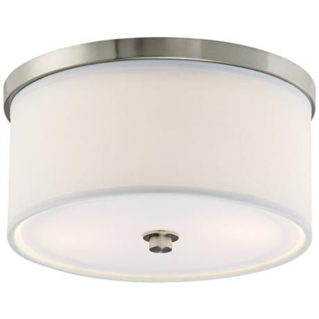 Energy efficient white fabric 10 1 4 wide ceiling light lampsplus com
