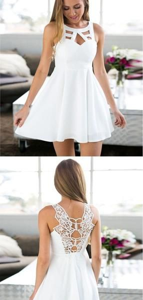 Simple White Lace Round Neck A Line Short Homecoming Dress, BTW239 Simple White Lace Round Neck A Line Short Homecoming Dress, BTW239 #weißekleiderkurz