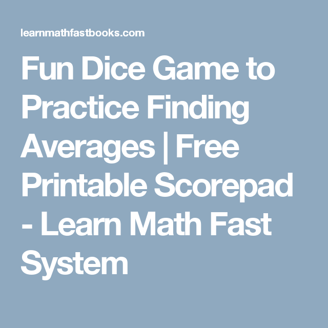 Fun Dice Game to Practice Finding Averages   Free Printable Scorepad ...