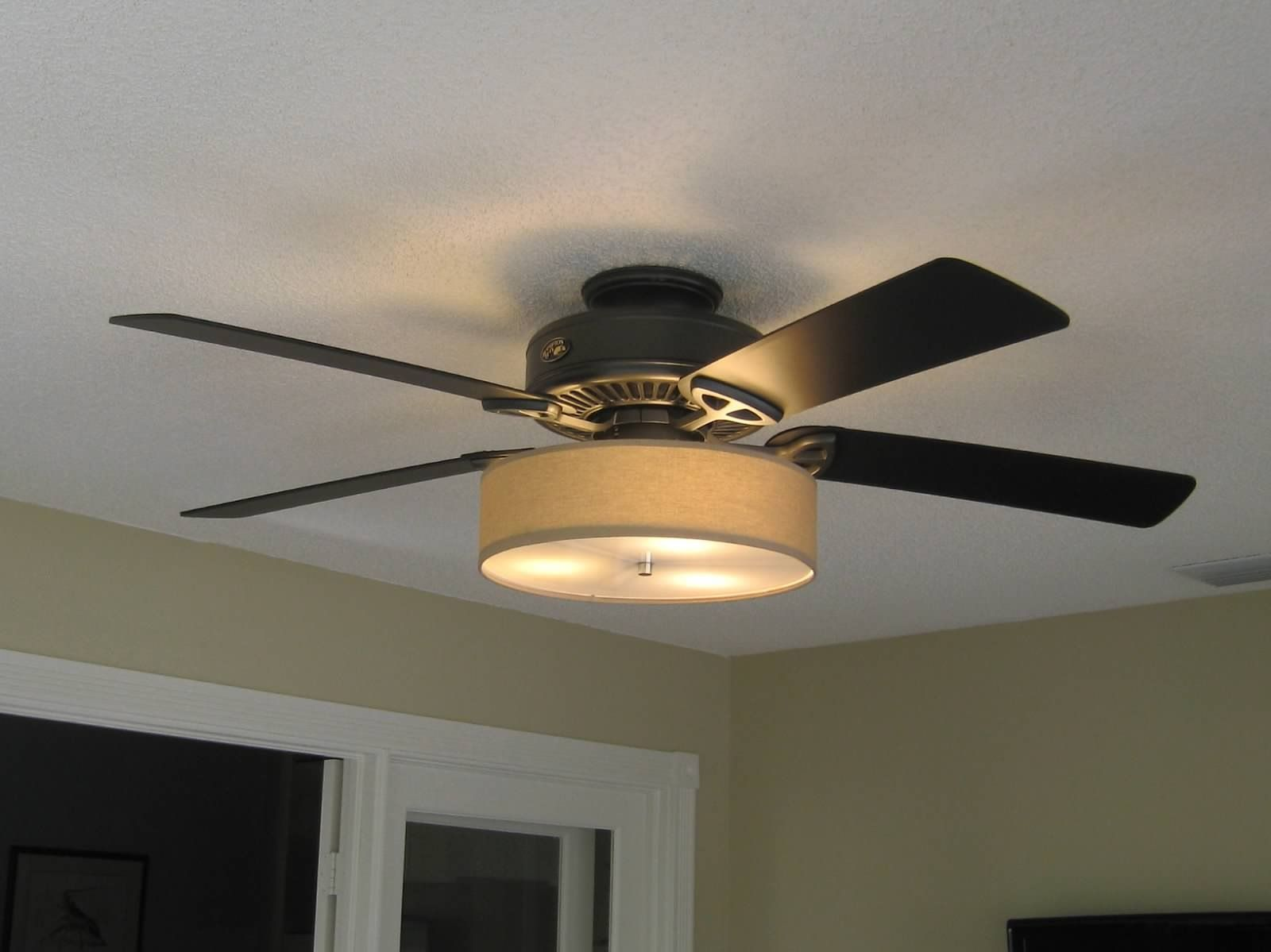 Low Profile Linen Drum Shade Light Kit for Ceiling Fan   Den ideas     Low Profile Linen Drum Shade Kit for Ceiling Fan   S T  Lighting LLC