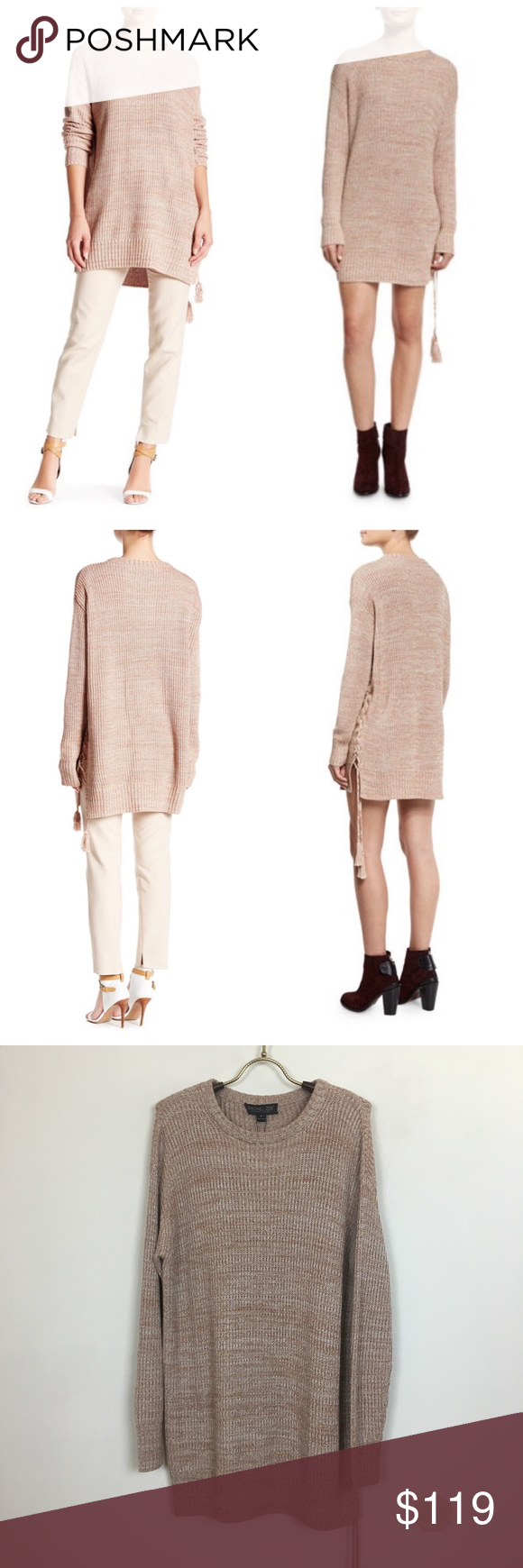 RACHEL ZOE  Sonia  Lace Up Sweater Dress Official color is hazelnut ... fcaf0f68c