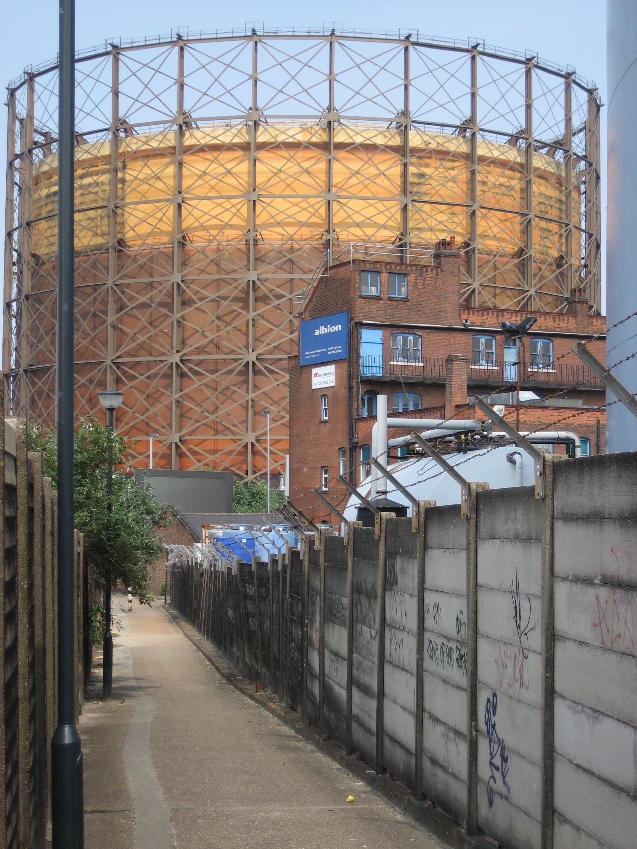 Gas Holder in Greenwich, London, England  Until the advent