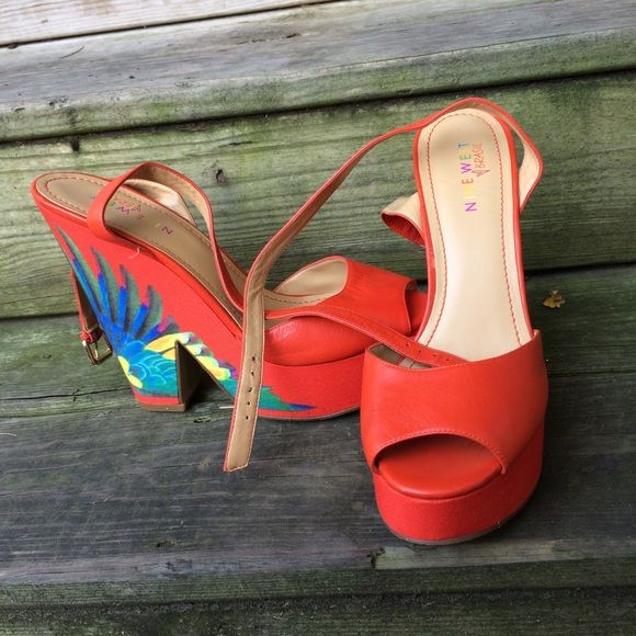 070c000e1fcd8 Nine West Brasil tropical wedges Nine West Brazil heels wedges. Beautiful  and fun tropical red. See photos for wear and condition. Size 9.5 in Brazil  sizing ...