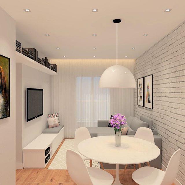 Apresento pra vocês a nossa sala! Estamos tão felizes! Piso de madeira, parede de tijolinhos, mesa tulipa.. todos os nossos desejos reunidos! Gostaram? O que mudariam? Projeto: @doce.arquitetura Edit: essa é a visão do balcão da cozinha para a sala! ✨♥ #projeto031 #apartamento031 #sala #livingroom #woodfloor