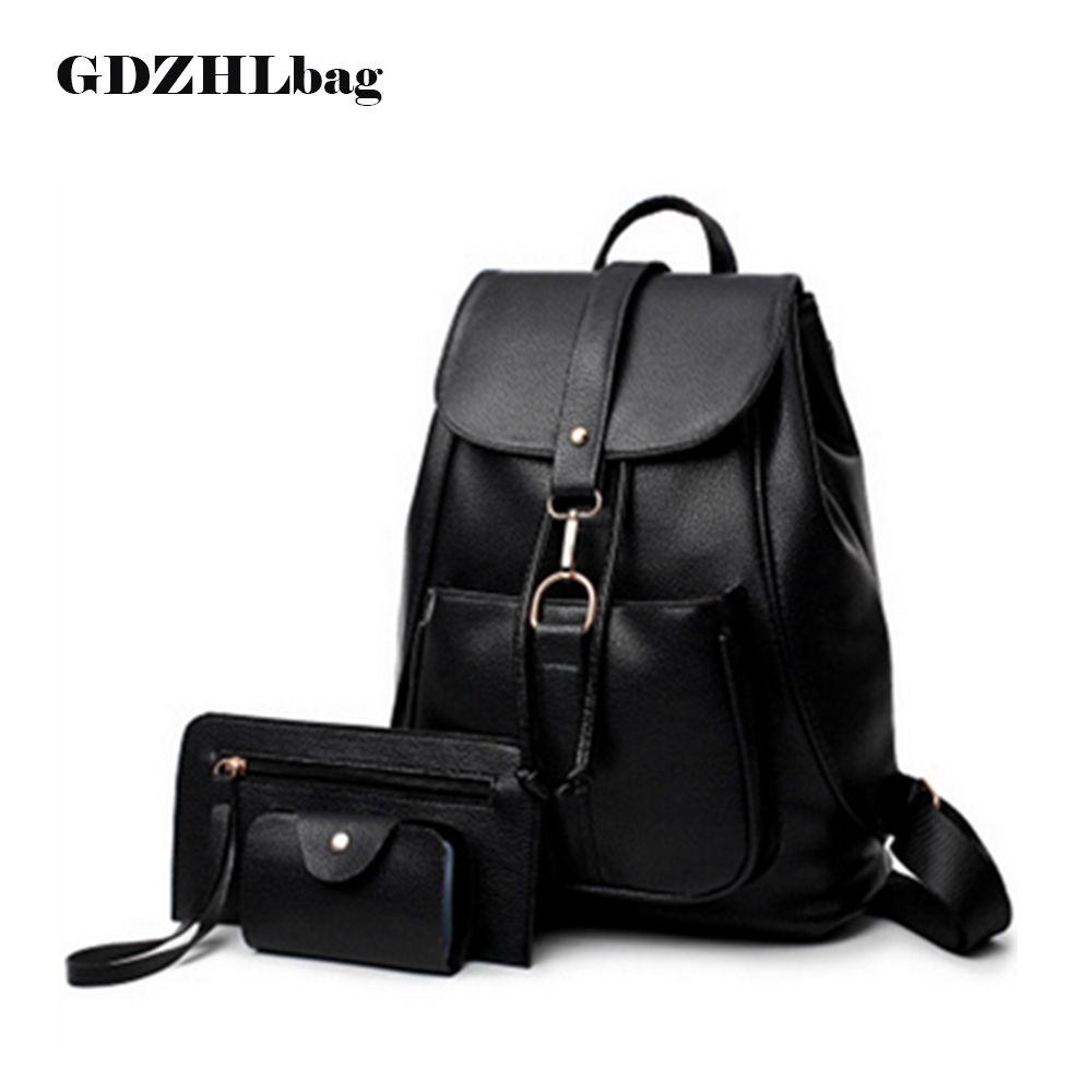 b2fd2eb210 Sayzisfa Brand New Women Backpack Leather Ladies Shoulder Bags Girls school  book bag black Backpacks Mochila Bagpack 3 sets
