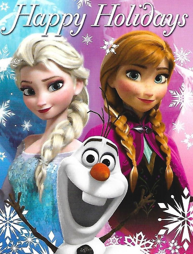Disney Frozen Christmas Cards Happy Holidays Elsa Anna Olaf Note ...