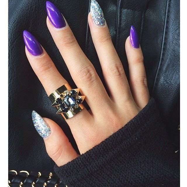 Purple Silver Nails
