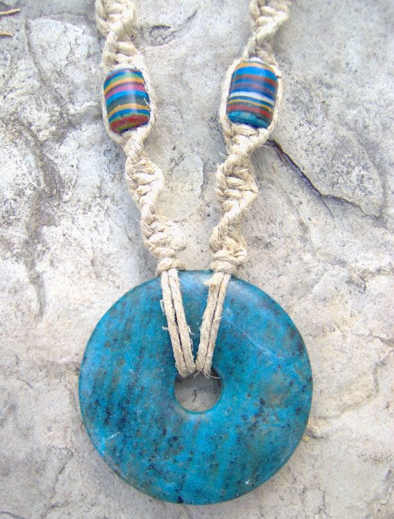 Hemp necklace w blue stone pendant lovely colors floss hemp hemp necklace w blue stone pendant lovely colors aloadofball Image collections