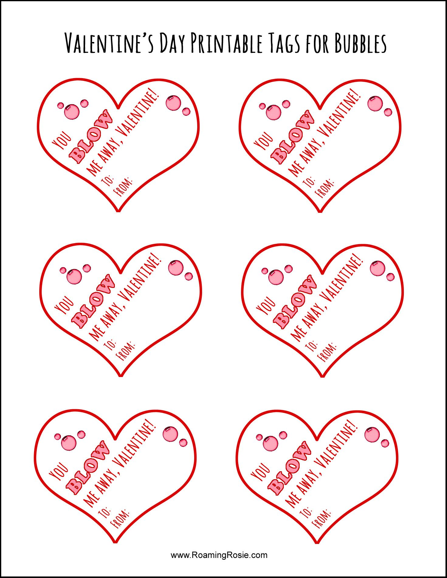 Free Printable Valentine S Day Tags For Bubbles