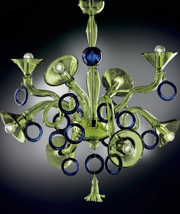 A fun and original green and blue murano glass chandelier this one a fun and original green and blue murano glass chandelier this one is great aloadofball Gallery