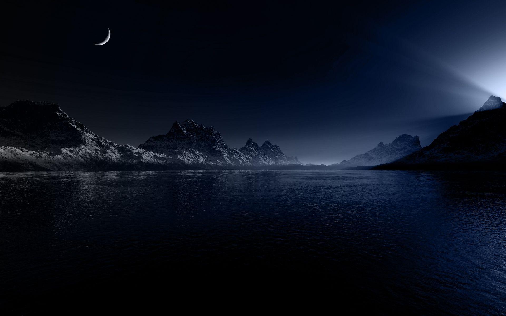 Sea Night Wallpaper Images Dark Landscape Night Landscape Landscape Wallpaper