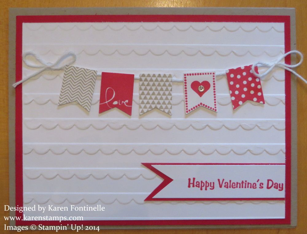 Banner Blast Valentine Card  Stamping With Karen  I Love