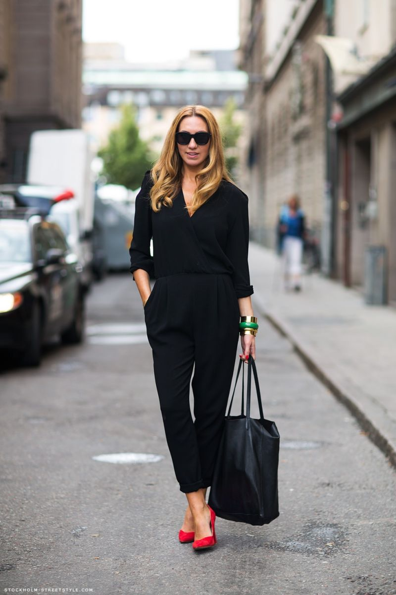 7f460a415b41 STREET STYLE FASHION WEEK BLACK JUMPSUITS SUEDE PUMPS OVERSIZED SUNGLASSES  LONG SLEEVE JUMPSUIT ROLLED CUFFED PANT LEGS RED SUEDE PUMPS HEEL.
