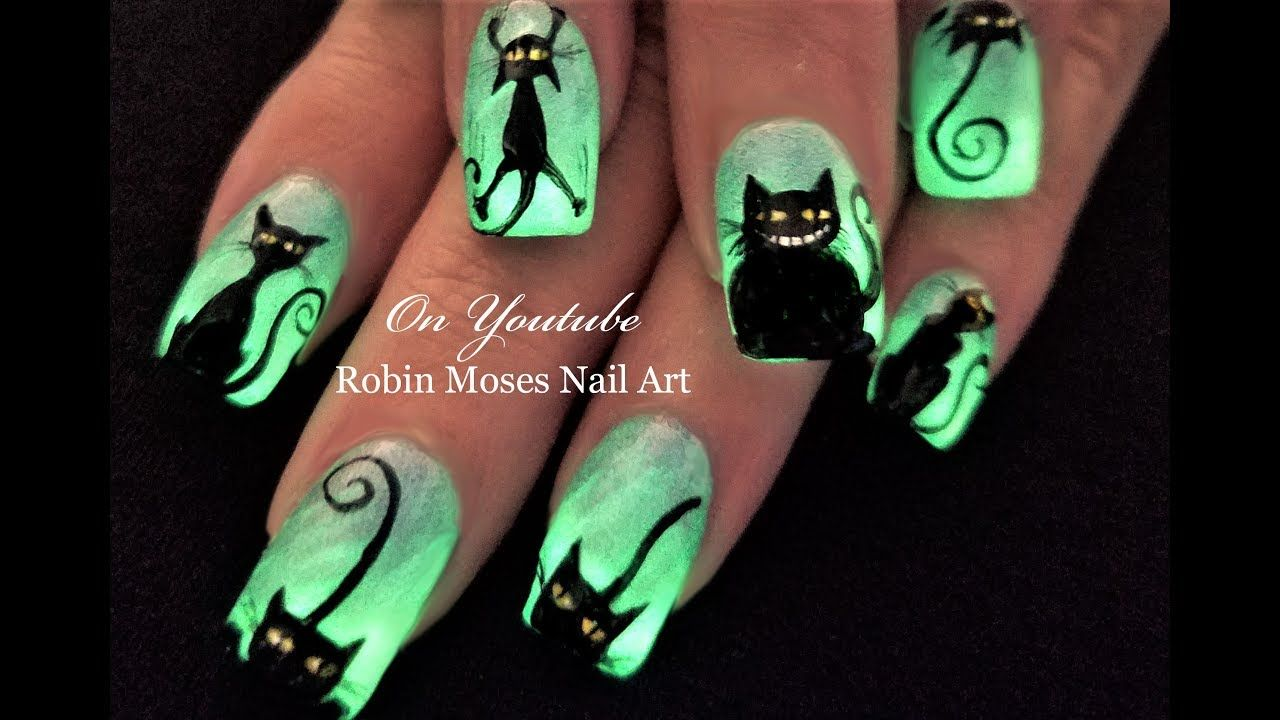 Please Share This Picture In The Halloween Playlist Search Robin Moses Black Cats On Youtube And Find D Halloween Nails Diy Nail Art Designs Diy Cat Nail Art