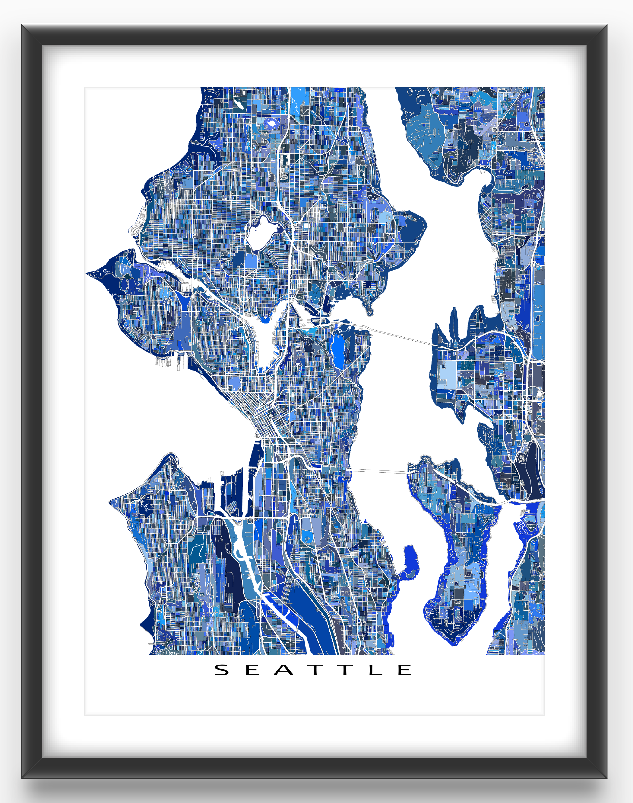 Seattle Map Art Print Featuring The City Of Seattle Washington - Usa map seattle