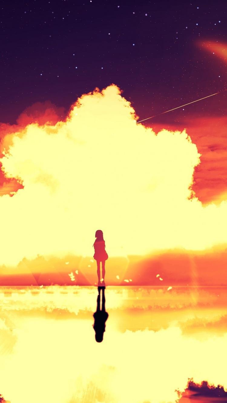 Download 750x1334 wallpaper Silhouette, clouds, lake