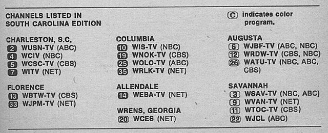 South Carolina Edition (August 29, 1970) | TV Guide Channel Lineups