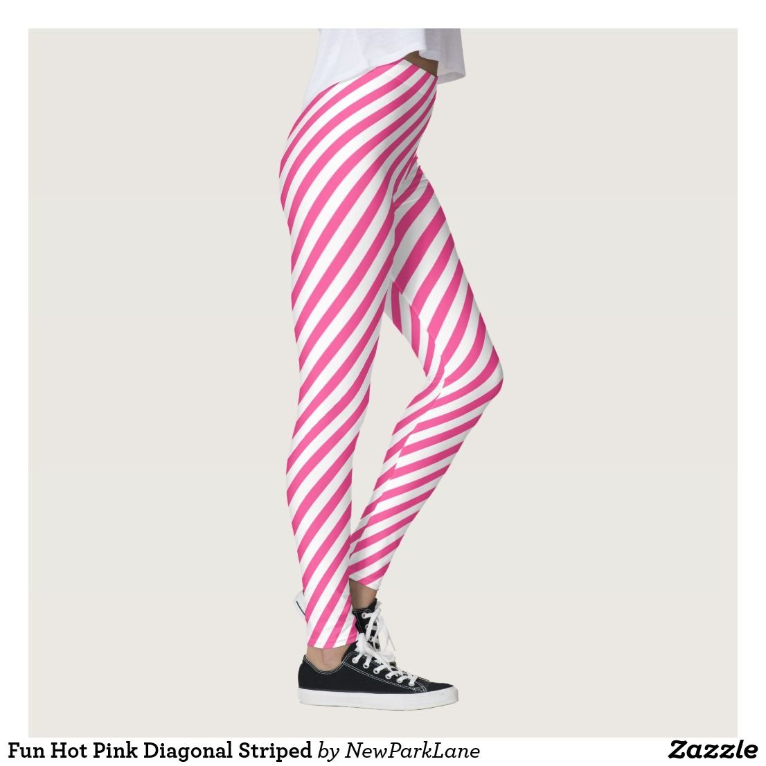 Fun Hot Pink Diagonal Striped Leggings | Zazzle.com #stripedleggings