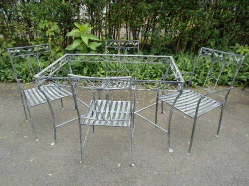 5 Pc Salterini Wrought Iron Glasstop Patio Table Chairs Set