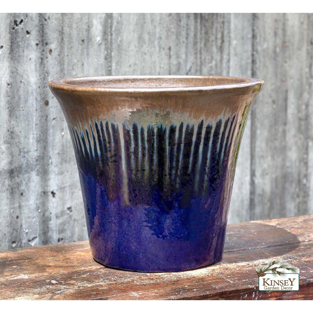 Kinsey Garden Decor Colorful Indoor Outdoor Planters Bronze Sapphire Blue Glazed Ceramic Flower Pots Flower Pots Outdoor Pottery Plant Pots Ceramic Planters