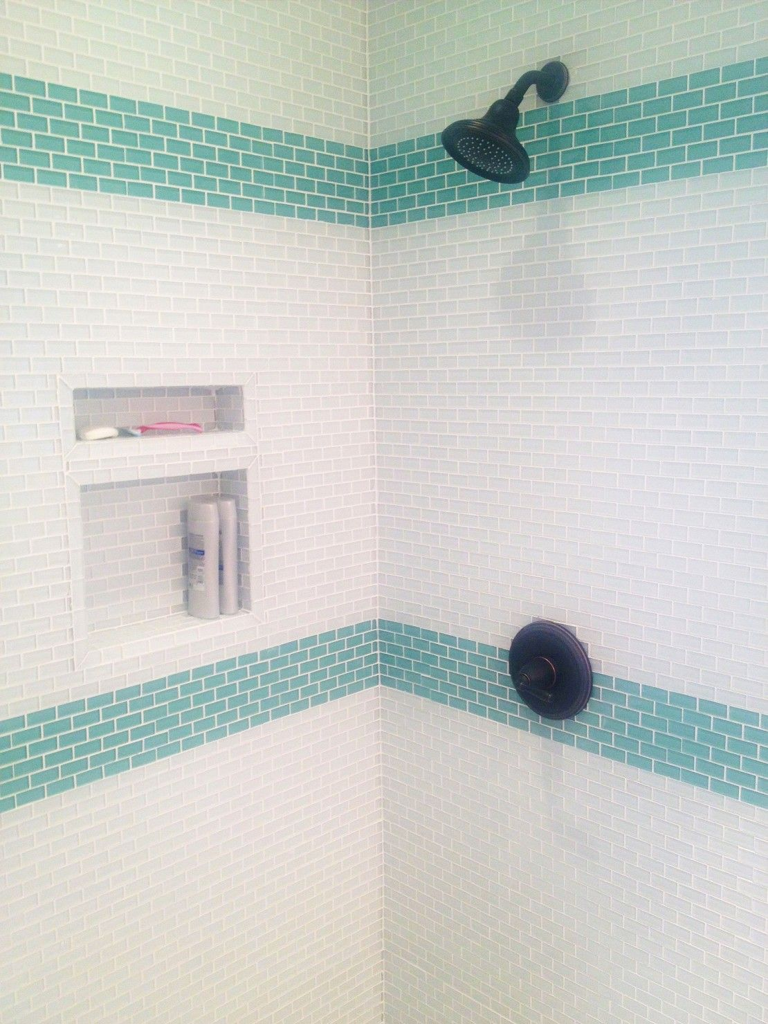 Subway Tiles - Can Be Used - Mini White Aqua Glass Tiles in the ...