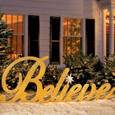 80 Metal Christmas Message Believe Yard Sign Outdoor Holiday