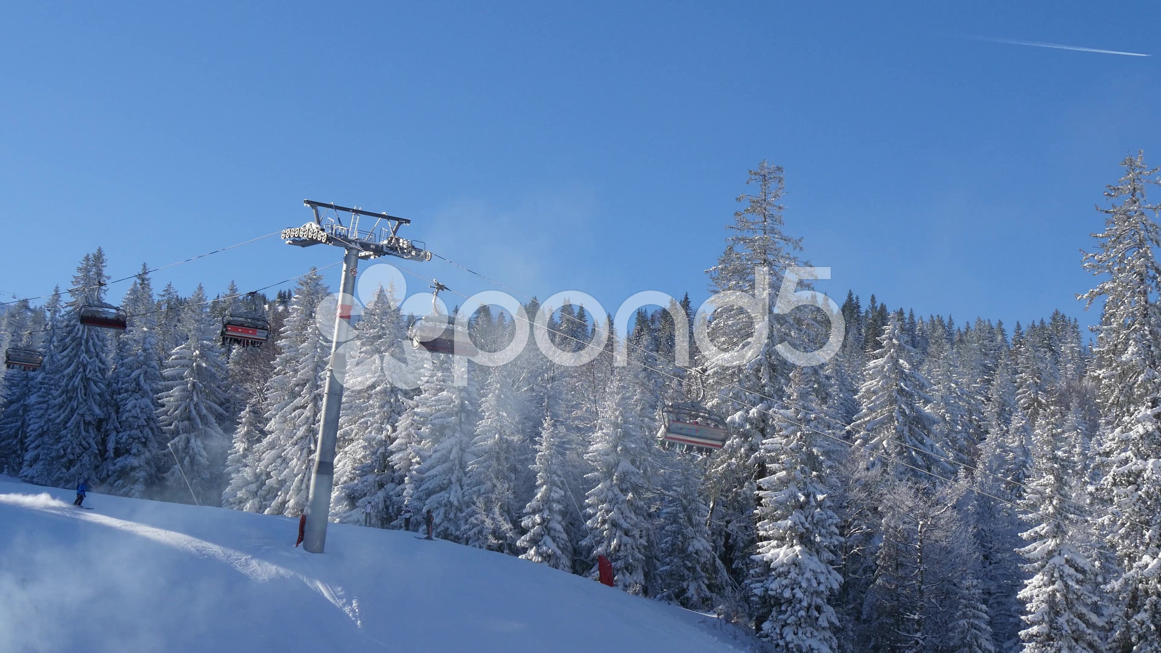 Ski Lift And Skiing People 4k Stock Footage Ad Skiing Lift Ski Footage Ski Lift Skiing Portfolio Template Design