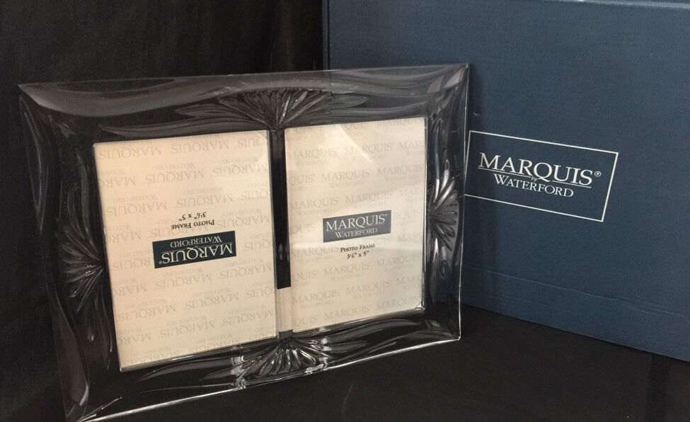 Waterford Marquis Roselle 35 X 5 Double Crystal Frame New Nib