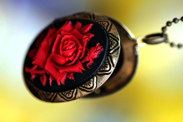 Red over Black Big ROSE detailed Cameo Locket by HandmadeCameo, $6.90