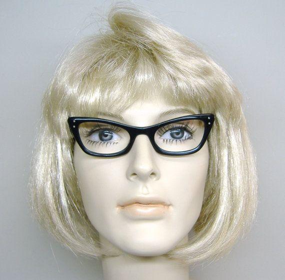 Vintage Black BL Cat Eye Eyeglasses or Sunglasses Frame Mid Century Retro