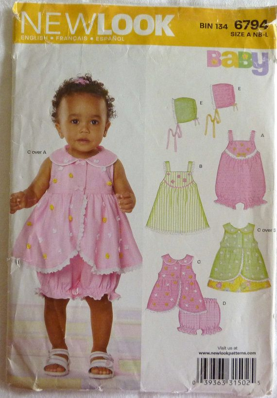 Sewing Pattern Simplicity New Look 6794 Baby Girl Summer Clothes ...