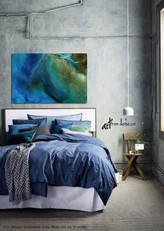 Blue Brown Green Abstract Canvas Wall Art Above Bed Artwork For