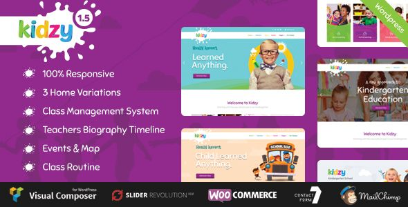 KIDZY - Responsive Kindergarten & Preschool WordPress Theme | Pinterest