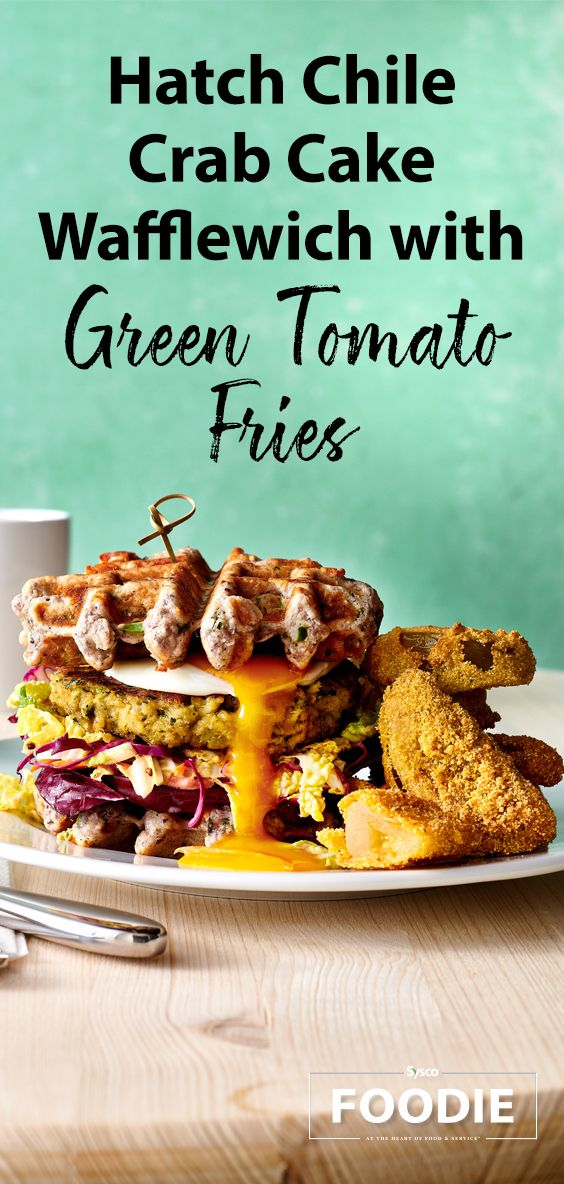 Hatch Chile Crab Cake Wafflewich With Green Tomato Fries