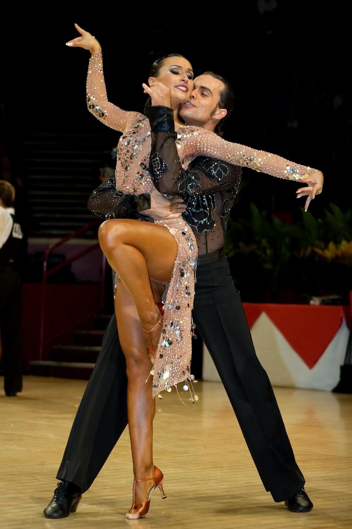 Latin dance dress nude mesh crystals long sleeve salsa bachata ...