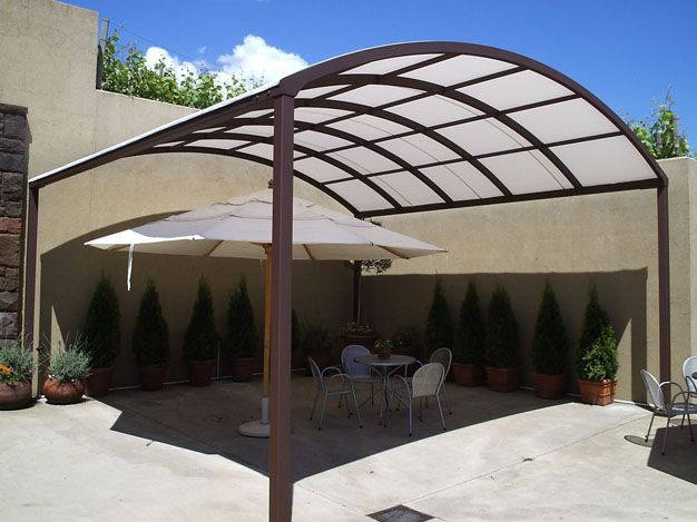 Curved Patio Canopy With Translucent Fabric Roof