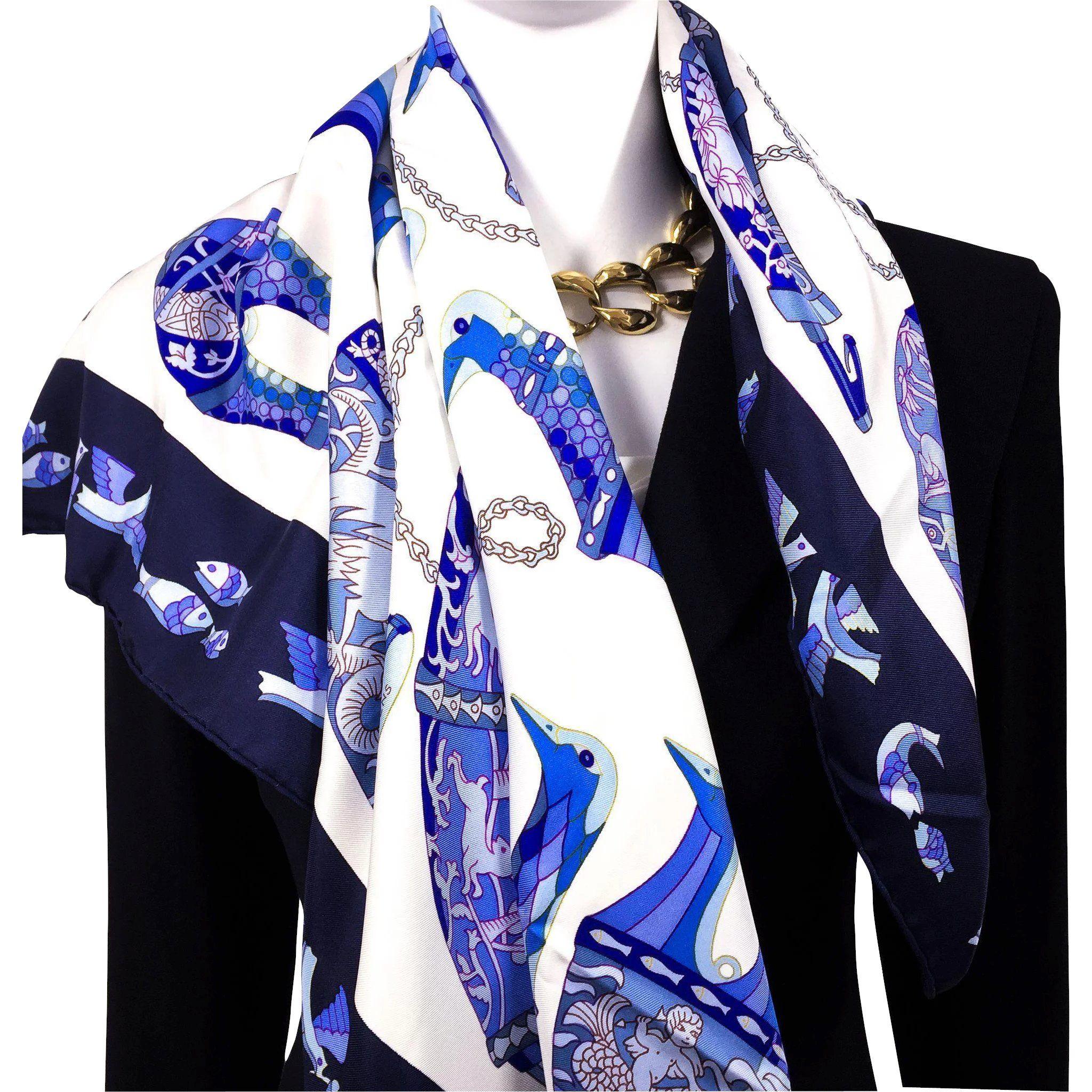 Rhytons Hermes Silk Scarf 100 Silk Grail W Box Www Rubylane Com Vintagebeginshere Holiday Giftideas Fashi Blue White Hermes Fashion