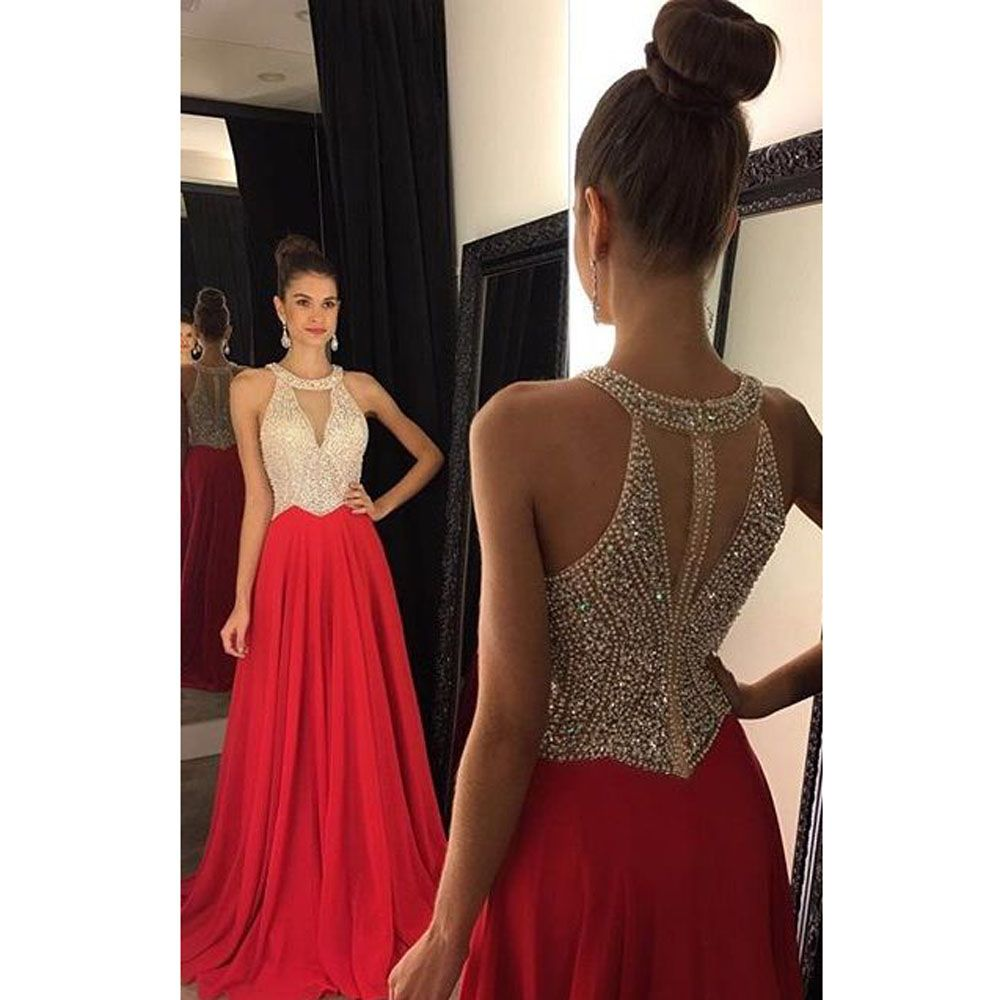 Click to buy ucuc sexy red o neck beaded pearls sheer back sleeveless