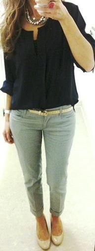 Flimsy blouse with narrow pants