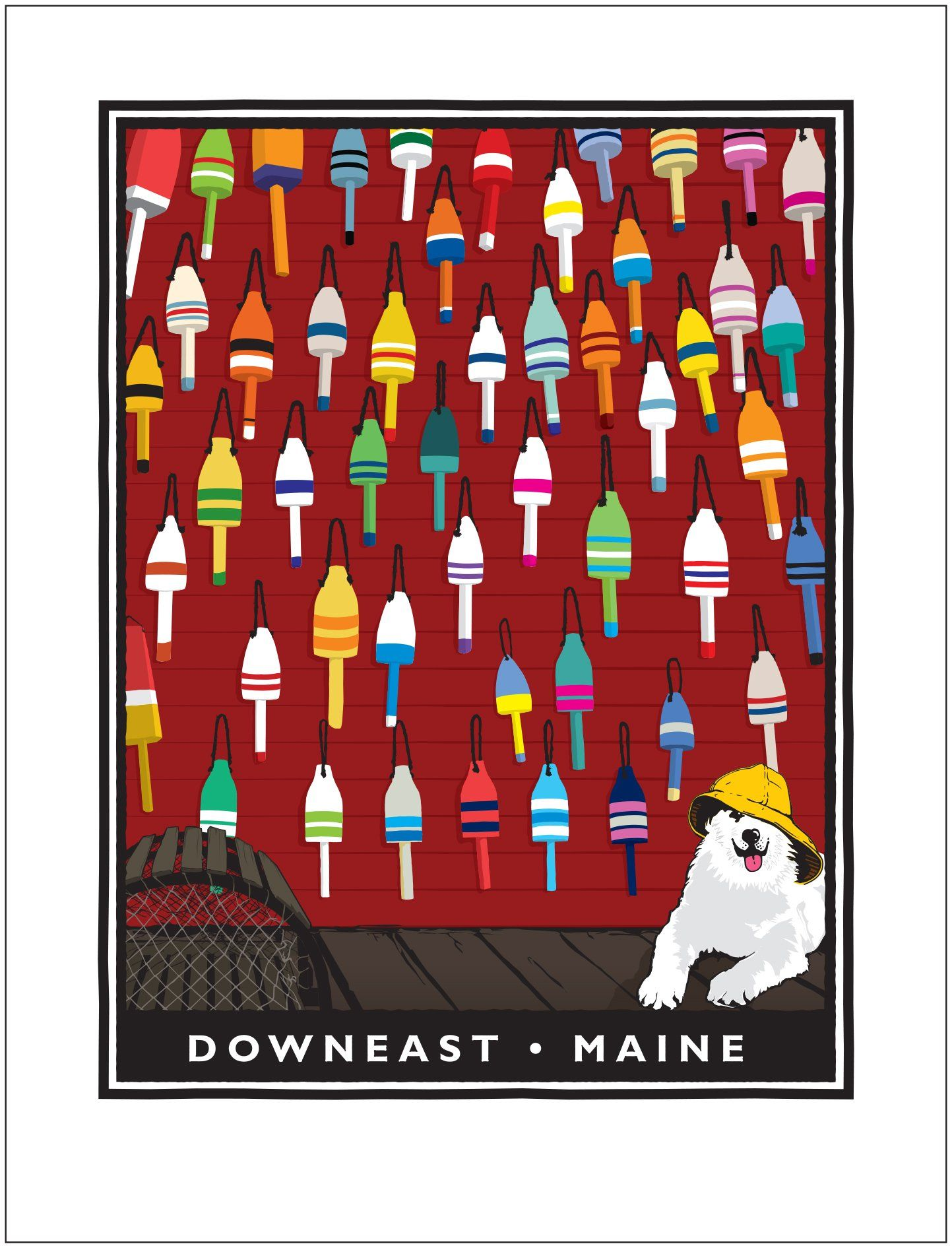 Sea Dog Downeast Lobster Bouys Signed Giclee Print