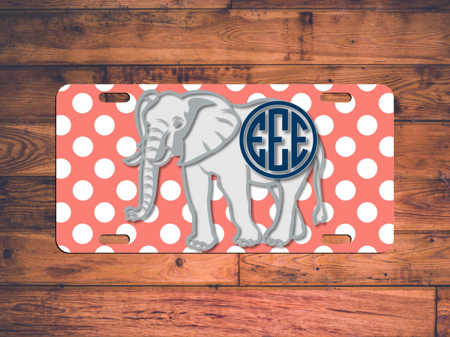 Elephant Polka Dots Monogrammed License Plate - Design your own! Tag ...