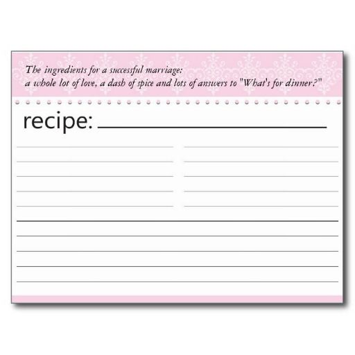 Bridal Shower Recipe Card Post Card