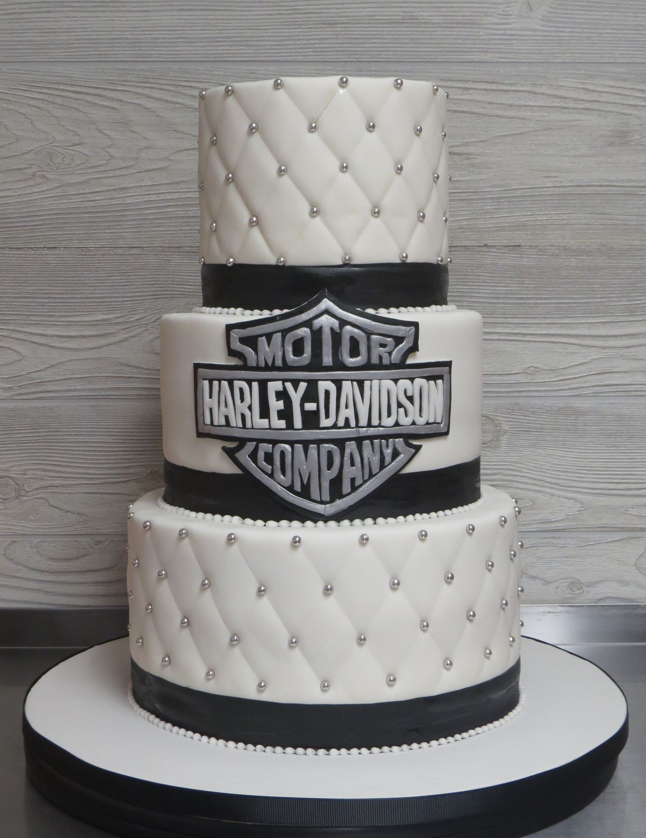 Elegant Harley Davidson Wedding Cake Black And Silver With Quilting Pearls Dragees