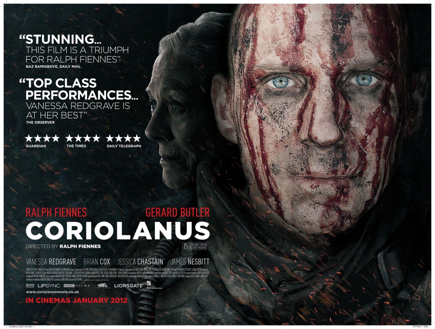 'Coriolanus' dir. Ralph Fiennes (with Gerard Butler, Vanessa Redgrave, Jessica Chastain, James Nesbitt)