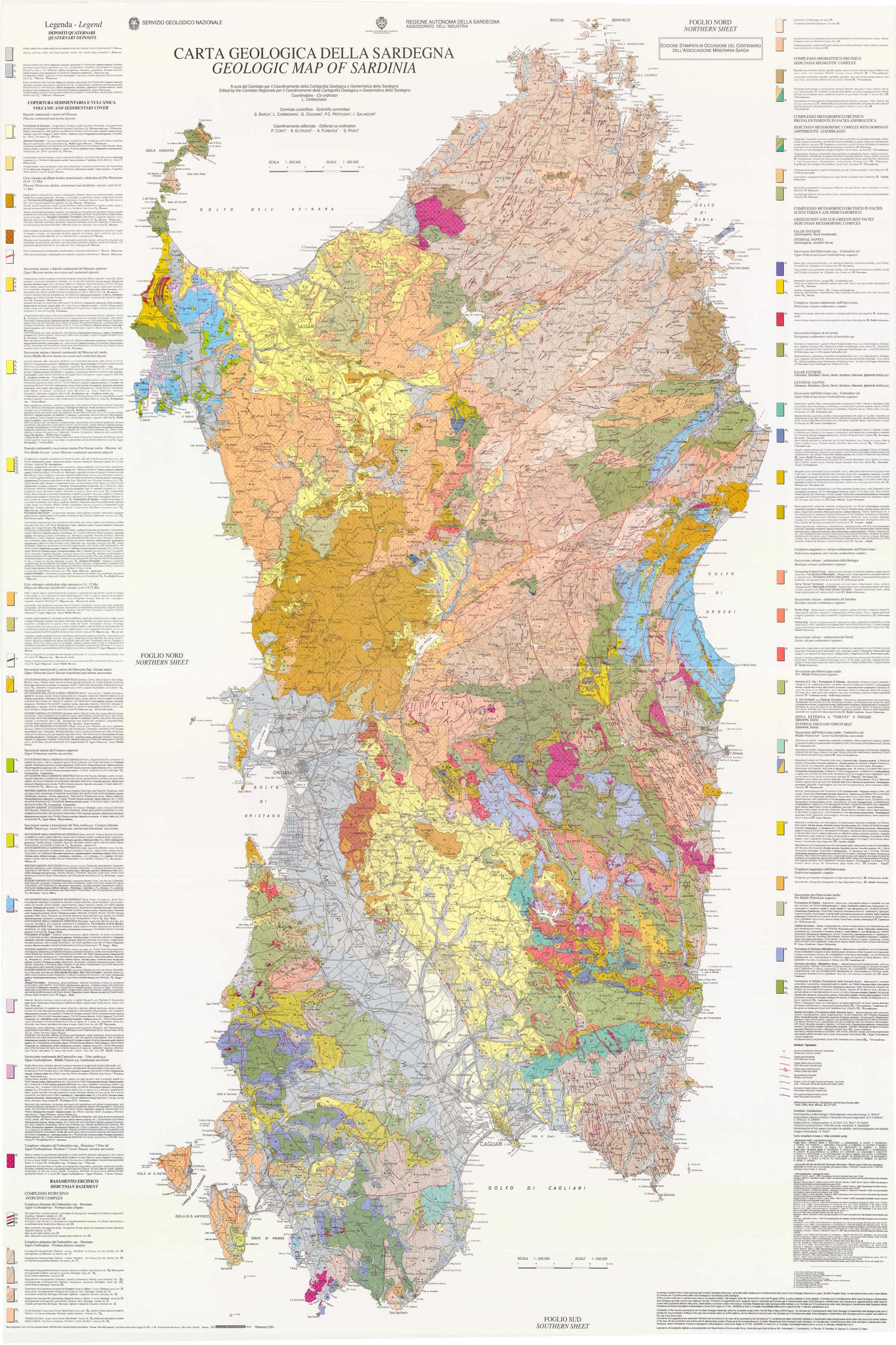 Geologic Map of Sardinia Geology Pinterest Italy
